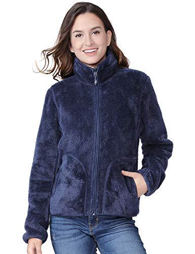 (Fleece Jacket Women Soft Reversible Polar Fleece Full Zip Jackets Leisure Outdoor Lapel Fashion Cardigan Coat Sweatshirts Navy Blue)