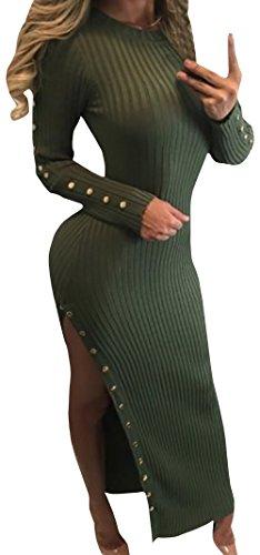 Karlywindow Women's Full Sleeve Ribbed Side Slit Slim Fit Sweater Dress