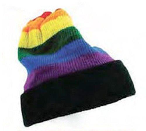 Rainbow Black Brim Winter Hat - Lesbian Gay Pride Flag Ap...