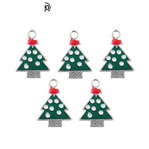10Pcs Christmas Series Enamel Art Oil Drop Green Tree Small Charms for Handmade DIY Craft Jewelry Making 2X1.5Cm ()