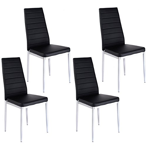 Lookpeech Set of 4 PU Leather Dining Side Chairs Elegant Design Home Furniture Black