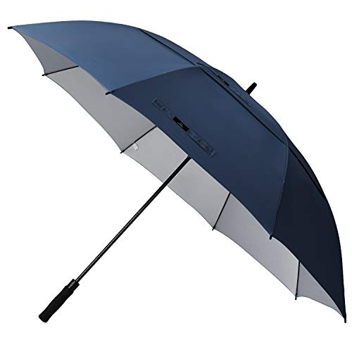 Prospo 68 inch Large Oversized Gold Umbrella UV Protection Auto Open Windproof Waterproof Double Canopy Vented Stick Umbrellas for Men Women(Navy Blue) - Golf Umbrella Lightweight Fiberglass