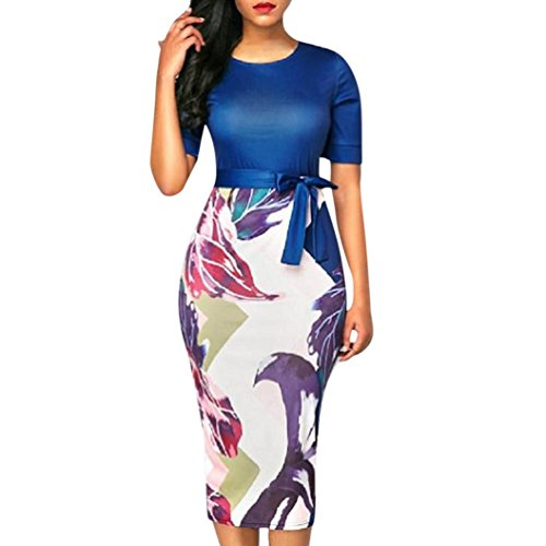 FEITONG Women's Bodycon Printed Bandage Business Pencil Dress Party Knee Length Dress Colorblock(Large,Blue) by FEITONG