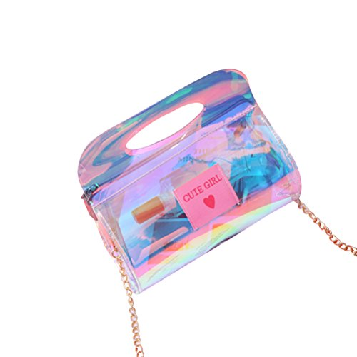 for Tinksky with Chain Holographic Purse Leather Bag Clutch Bag Clutch Evening Crossbody Women Wallet Hologram Handbag 7FZnr6q7w