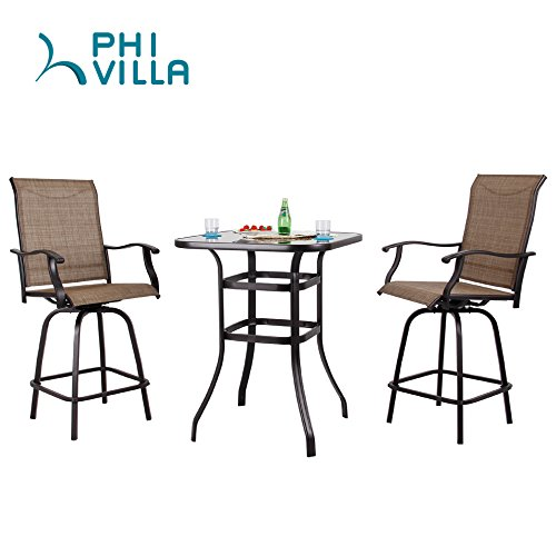PHI VILLA Patio 3 PC Swivel Bar Sets Textilene High Bistro Sets, 2 Bar Stools and 1 Table, (Swivel Bistro Bar)