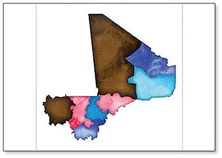 Imán para nevera con ilustración de mapa de Malí de acuarela ...