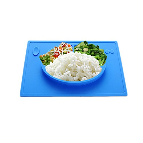 LLZJ Babies Silicone Suction Bowl Suction Stay Put Separate Placemat Antidérapant Anti-Fall Toddler Feeding Training Tableware Dishes Children's Cutlery,Blue by LLZJ