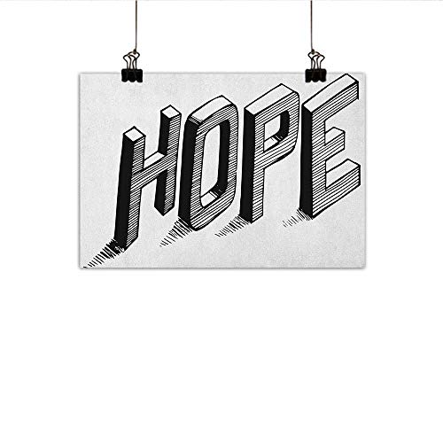 (homehot Hope Simulation Oil Painting Sketch Letters with Stripes Spelling Hope Hand Drawn Calligraphic Arrangement Decorative Painted Sofa Background Wall 35