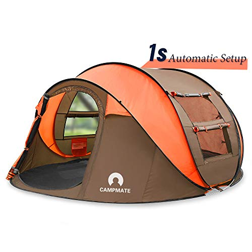 SKYLINK Outdoor Camping Tents Easy Up,Pop Up Tent 4 Person Family Dome Tent Automatic Setup,Instant Family Tents for…
