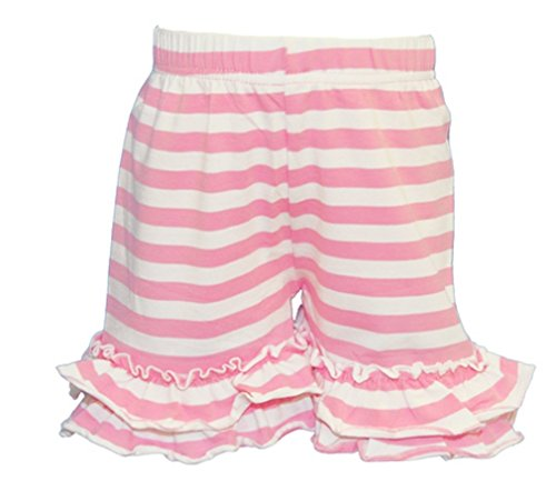 LC Boutique Girls Double Ruffle Striped Bike Shorts Mid Thigh Sizes 2 to 16 Light Pink and White