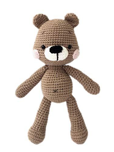 "Babytoly Teddy Bear, 8"" - Amigurumi Stuffed Crochet Knitted Toy, 100% GOTS Organic Cotton Yarn, Hand Made Heirloom Soft Organic Amigurumi Doll, Ethically Made in Turkey from Babytoly"