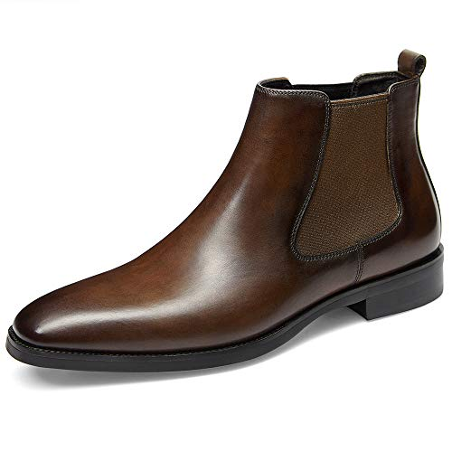 GIFENNSE Men's Chelsea Boots,Black Boots for Men,Brown Boots,Leather Boots,Mens Chelsea Boots (10.5US/Dark Brown