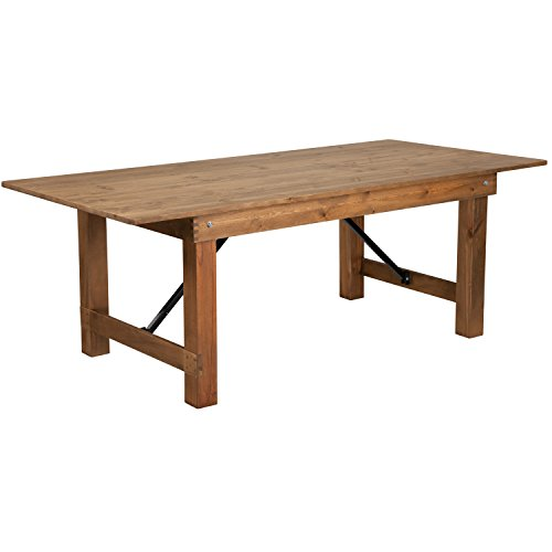 Flash Furniture HERCULES Series 7 x 40 Antique Rustic Solid Pine Folding Farm Table