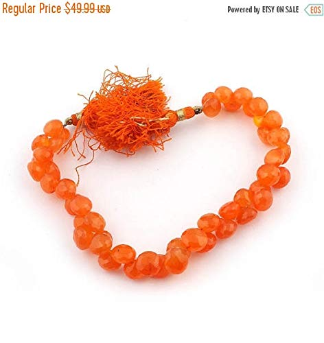 KALISA GEMS Beads Gemstone 1 Strand Natural Carnelian Faceted Briolettes - Onion Shape Beads 6mmx9mm-8mmx9mm 9 Inches