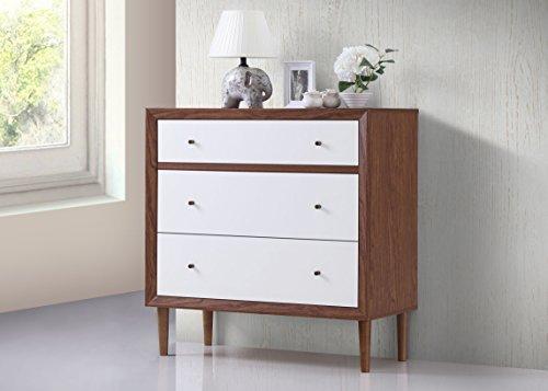Bedroom Baxton Studio FP-6782-Walnut/White chests-of-Drawers, Medium, White and Walnut