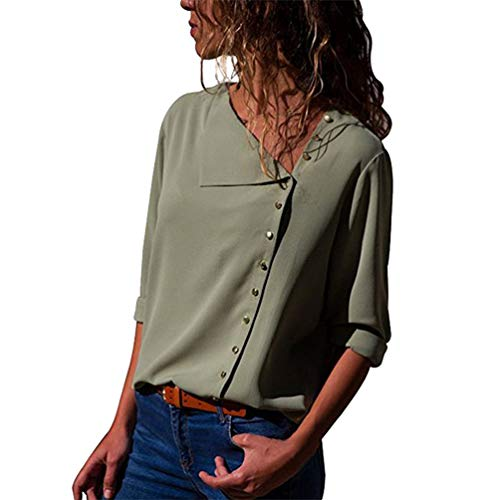 Shirt Chemise Col Xinwcang Longues Classique Casual Femme Manches Hauts Top Vert Blouse V BxCPxqwd