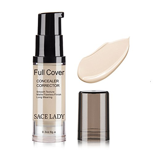 Pro Full Cover Liquid Concealer, Waterproof Smooth Matte Flawless Finish Creamy Concealer Foundation for Eye Dark Circles Spot Face Concealer Makeup, Size:6ml/0.20Fl Oz (00. Ivory)