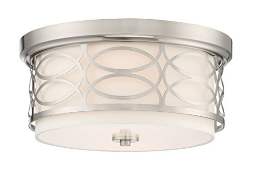 "Kira Home Sienna 13"" Modern 2-Light Flush Mount Ceiling Light + Round Frosted Glass Diffuser, Brushed Nickel Finish"