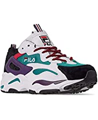 FILA Men's Ray Tracer fashion sneakers feature a suede synthetic leather and mesh upper. Lace-up front for a secure fit. Padded tongue and collar for comfort. Embroidered FILA logo on tongue vamp and back counter. EVA cushioned midsole for co...