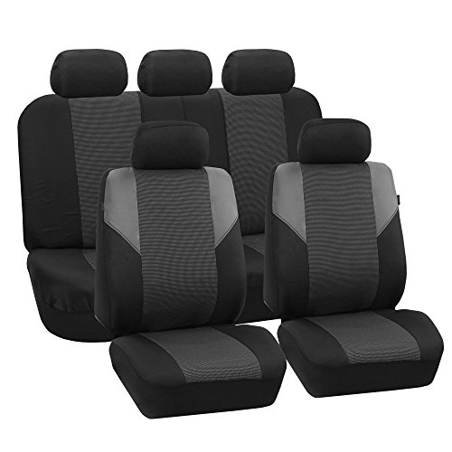FH Group FB064GRAY115 Gray Timeless Cross Weave Seat Cover (Airbag Ready and Split Bench Full -