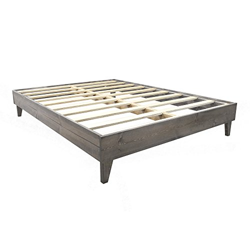 Platform Bed Frame - Made in the USA w/ 100% North American Pine | No Tool Assembly | Solid Wood Mattress Foundation w/ 7-Layer Pressed Pine Slats Included (Barn Wood Headboard compare prices)