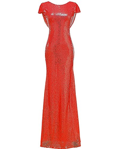 DressyMe Women's Slim Bridesmaid Dress Prom Gown Column Sequin Sleeves-6-Red ()