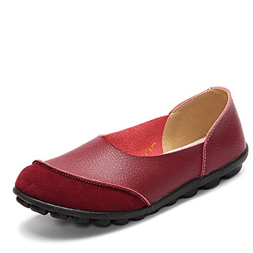 de Slip On Moccasins Fashion Patchwork Flats Woman Black Casual Loafers Autumn Plus Size Ladies Shoes Wine Red 6 (Patchwork Flat Shoes)
