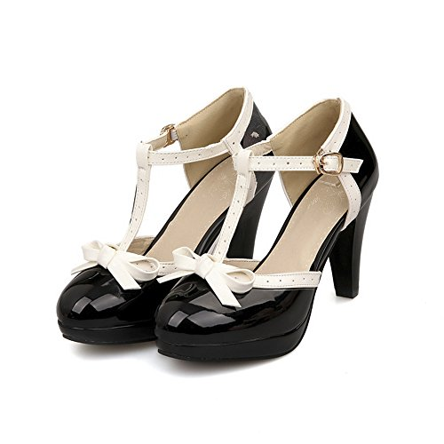 ForeMode Fashion Women T-Strap High Heels Bow Platform Round Toe Pumps Patent Leather Summer Lolita Sweet Shoes(Black,7) ()