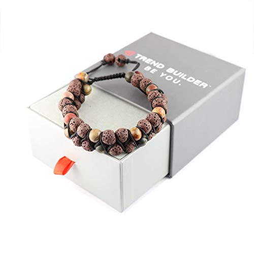 Trend Builder Inc New Lava Rock Natural Stone Essential Oil Diffuser Tassel Bracelets for Aromatherapy   Distance Friendship Mala Tibetan Prayer Beaded Bracelet   20 Options   Gift Box Included