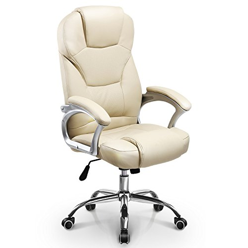 Neo Chair Classic Executive Office Chair Upgraded Class A durable Wheels 300LB Padded Seat Built-in Headrest Breathable Leather Ergonomic Lumbar Back Support Adjustable Computer Desk Home Chair, Ivory