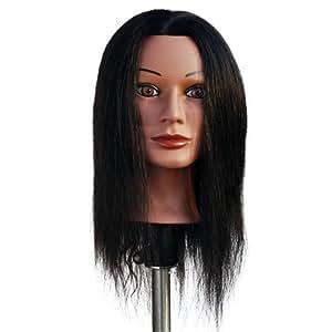 "Marianna 22"" Cosmetology Mannequin Head 100% Human Hair Ethnic - Miss Jenny"