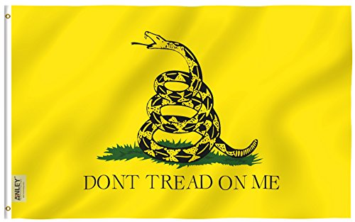 Anley |Fly Breeze| 3x5 Foot Don't Tread On Me Gadsden Flag - Vivid Color and UV Fade Resistant - Canvas Header and Double Stitched - Tea Party Flags Polyester with Brass Grommets 3 X 5 Ft