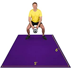 Exercise Mat 6'x5'x7mm | Large Workout Mat for Home | Durable Home Gym Flooring | Non-Slip, Thick, High Density Rubber Mats for At-home Fitness | Wide Size