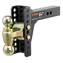 CURT 45900 Adjustable Trailer Hitch Ball Mount, 2-Inch Receiver, 6-Inch Drop, 5-1/4-Inch Rise, 2-Inch and 2-5/16-Inch Tow Balls, 14,000 lbs.
