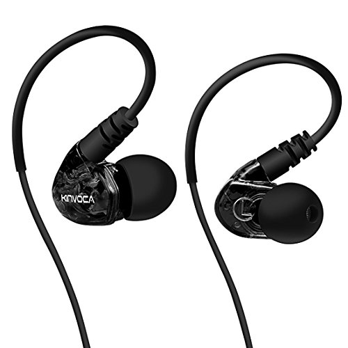 KINVOCA Sweatproof Sports Workout Earphones for Running Gym Exercise Jogging Wired Earhook Headphones with Volume Remote and Microphone Bass Noise Isolating Over Ear In Ear Sport Earbuds - Headphones Around Ipod Wrap