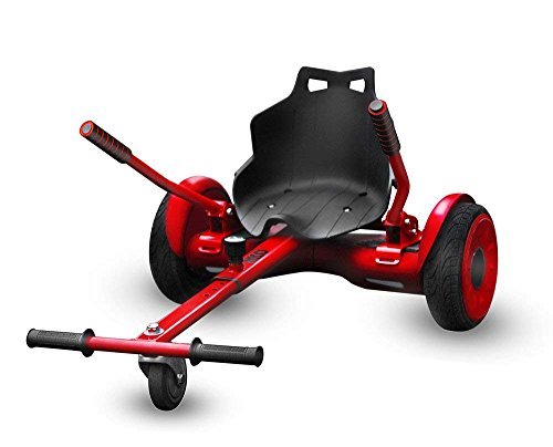Adjustable Hoverboard Seat Attachment, Go Kart, Hoverboard Go Cart Accessories, Heavy Duty Frame, Fun for Kids Fits 6.5″/8″/10″, Go Kart Conversion Kit for Hoverboard (RED)