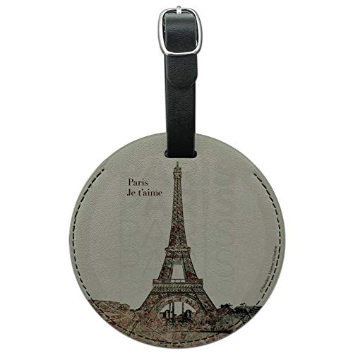 Paris, Je t'aime I Love You Eiffel Towe Round Leather Luggage Card ID Tag
