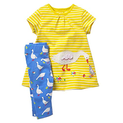 Toddler Baby Girls Clothing Set Cut Print Short Sleeve T Shirt and Pants 2pcs Outfits Yellow