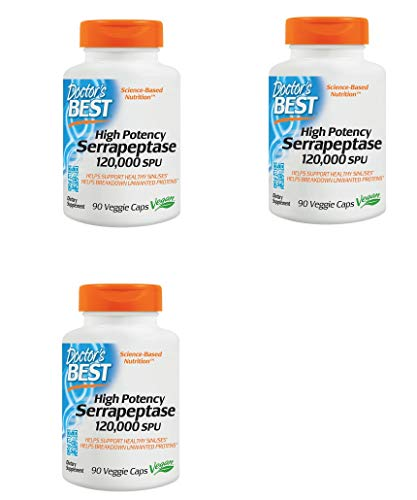 (High Potency Serrapeptase, Non-GMO, Gluten Free, Vegan, Supports Healthy Sinuses, 120,000 SPU, 90 Veggie Caps)