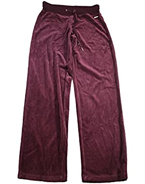 Womens Flat Front Solid Velour Pants Purple M