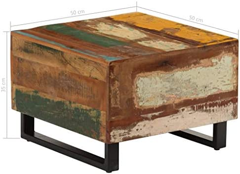 Super Specials Tidyard Salontafel, 50 x 50 x 35 cm, gerecycled massief hout, bijzettafel, woonkamertafel, koffietafel, houten tafel  1kCNOes