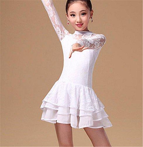 en latine danse Fille jupe femme danse dentelle White de de robe xwRqPqnSW
