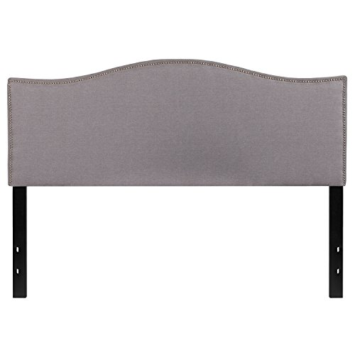 Flash Furniture Lexington Upholstered Queen Size Headboard with Decorative Nail Trim in Light Gray (Fabric Upholstered Headboard)