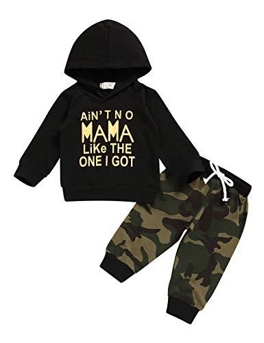 Baby Boy Kleding Lange Mouw Gedrukt Lady Killer Top Hoodie en Camouflage Broek Baby Outfits Set