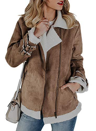 Sidefeel Women Faux Suede Jacket Zipper Up Front Coat Outwear with Pockets X-Large Khaki by Sidefeel