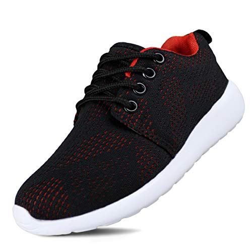 Hawkwell Breathable Lace-up Running Shoes(Toddler/Little Kid/Big Kid),Black Red Mesh,13 M US Little Kid ()