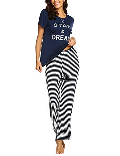 Ekouaer Women's Cute Pajamas Set Short Sleeve Top & Leggings Sleepwear Lounge Set(Navy Blue L)