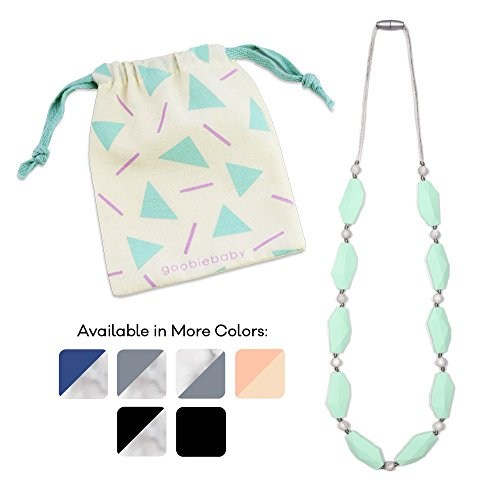 Goobie Baby Naomi Silicone Teething Necklace for Mom to Wear, Safe BPA Free Beads to Chew - Mint/Marble ()