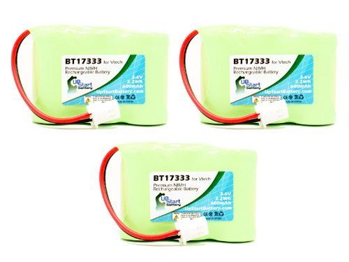 3 Pack - Replacement for AT&T EL42308 Battery - Compatible with AT&T Cordless Phone Battery (600mAh 3.6V NI-MH)