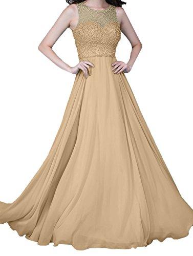 Abendkleider Damen Chiffon Champagner Linie Zahlreichen Lang A Charmant mit Perlen Festlichkleider Ballkleider 6twWdAdaq